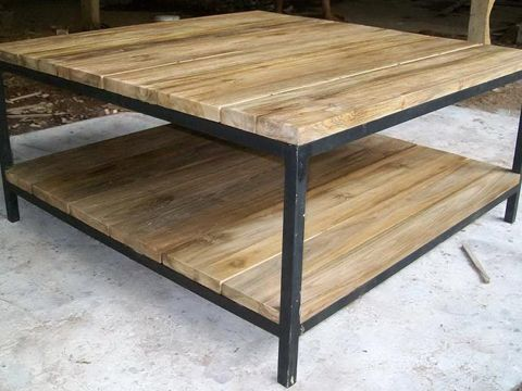 Charming Reclaimed Teak Iron Coffee Table With Shelve Top Thickness U003d 2 Cm. Size U003d  140 X 70 X 40 Cm