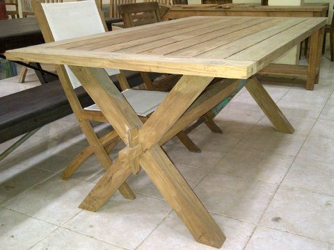 Reclaimed Teak Dining Table With X Legs Style ...