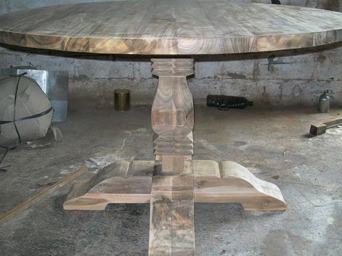 Reclaimed Wood Dining Table And Chairs Bench Set Top Teak Round Thickness  Cm Size